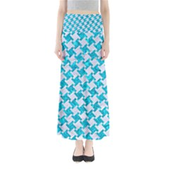 Houndstooth2 White Marble & Turquoise Marble Full Length Maxi Skirt
