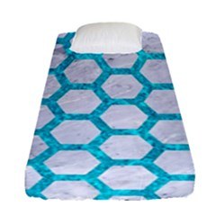 Hexagon2 White Marble & Turquoise Marble (r) Fitted Sheet (single Size)