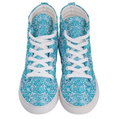 Damask2 White Marble & Turquoise Marble (r) Men s Hi Top Skate Sneakers