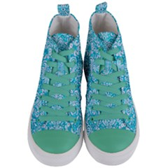 Damask2 White Marble & Turquoise Marble Women s Mid Top Canvas Sneakers