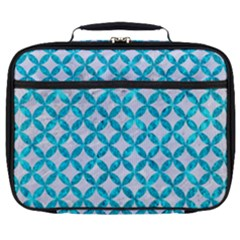 Circles3 White Marble & Turquoise Marble (r) Full Print Lunch Bag