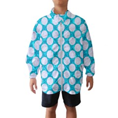 Circles2 White Marble & Turquoise Marble Wind Breaker (kids)