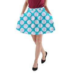 Circles2 White Marble & Turquoise Marble A Line Pocket Skirt