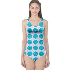 Circles1 White Marble & Turquoise Marble (r) One Piece Swimsuit