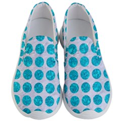 Circles1 White Marble & Turquoise Marble (r) Men s Lightweight Slip Ons