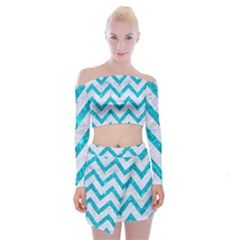 Chevron9 White Marble & Turquoise Marble (r) Off Shoulder Top With Mini Skirt Set