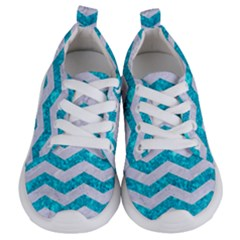 Chevron3 White Marble & Turquoise Marble Kids  Lightweight Sports Shoes