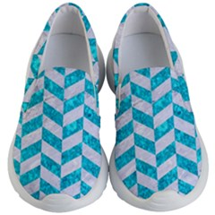 Chevron1 White Marble & Turquoise Marble Kid s Lightweight Slip Ons