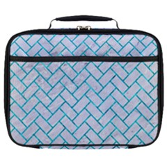 Brick2 White Marble & Turquoise Marble (r) Full Print Lunch Bag