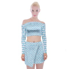 Brick1 White Marble & Turquoise Marble (r) Off Shoulder Top With Mini Skirt Set
