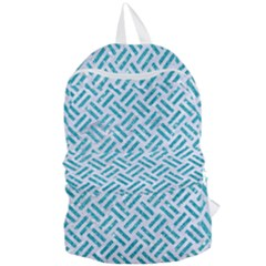 Woven2 White Marble & Turquoise Glitter (r) Foldable Lightweight Backpack