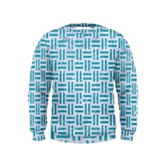 Woven1 White Marble & Turquoise Glitter (r) Kids  Sweatshirt