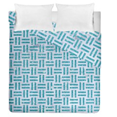 Woven1 White Marble & Turquoise Glitter (r) Duvet Cover Double Side (queen Size)