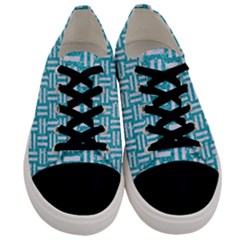 Woven1 White Marble & Turquoise Glitter Men s Low Top Canvas Sneakers