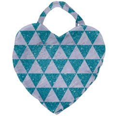Triangle3 White Marble & Turquoise Glitter Giant Heart Shaped Tote
