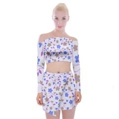 Blue Vintage Flowers Off Shoulder Top With Mini Skirt Set