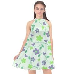 Green Vintage Flowers Halter Neckline Chiffon Dress