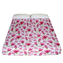Watercolor Spring Flowers Pattern Fitted Sheet (california King Size)
