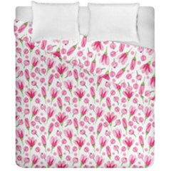 Watercolor Spring Flowers Pattern Duvet Cover Double Side (california King Size)