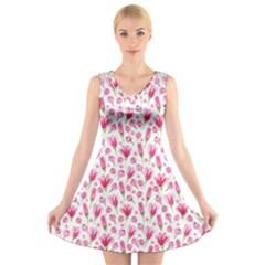 Watercolor Spring Flowers Pattern V Neck Sleeveless Skater Dress
