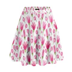 Watercolor Spring Flowers Pattern High Waist Skirt