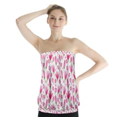 Watercolor Spring Flowers Pattern Strapless Top