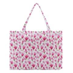 Watercolor Spring Flowers Pattern Medium Tote Bag