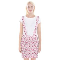 Watercolor Spring Flowers Pattern Braces Suspender Skirt