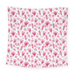 Watercolor Spring Flowers Pattern Square Tapestry (large)