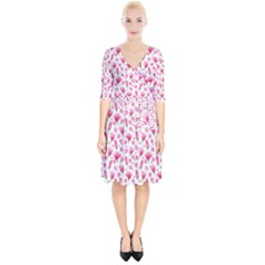 Watercolor Spring Flowers Pattern Wrap Up Cocktail Dress