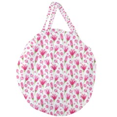 Watercolor Spring Flowers Pattern Giant Round Zipper Tote