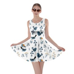 Spring Flowers And Birds Pattern Skater Dress