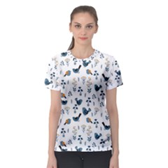 Spring Flowers And Birds Pattern Women s Sport Mesh Tee