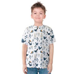 Spring Flowers And Birds Pattern Kids  Cotton Tee