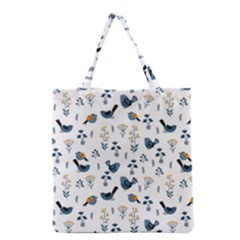 Spring Flowers And Birds Pattern Grocery Tote Bag