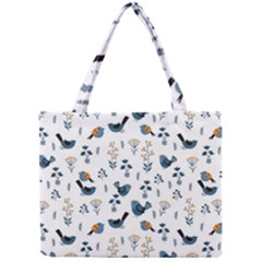 Spring Flowers And Birds Pattern Mini Tote Bag