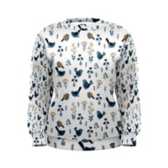 Spring Flowers And Birds Pattern Women s Sweatshirt