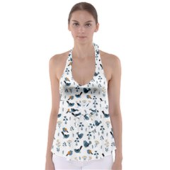 Spring Flowers And Birds Pattern Babydoll Tankini Top