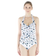 Spring Flowers And Birds Pattern Halter Swimsuit
