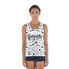 Spring Flowers And Birds Pattern Sport Tank Top
