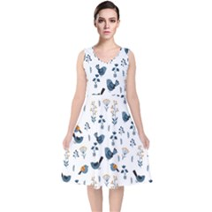 Spring Flowers And Birds Pattern V Neck Midi Sleeveless Dress