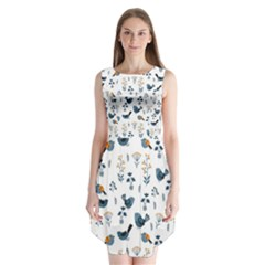Spring Flowers And Birds Pattern Sleeveless Chiffon Dress