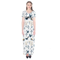 Spring Flowers And Birds Pattern Short Sleeve Maxi Dress