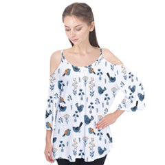 Spring Flowers And Birds Pattern Flutter Tees