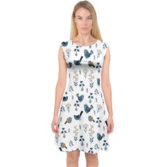 Spring Flowers And Birds Pattern Capsleeve Midi Dress