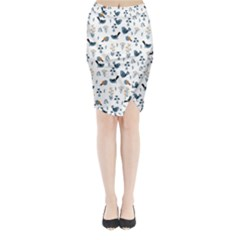 Spring Flowers And Birds Pattern Midi Wrap Pencil Skirt