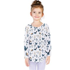 Spring Flowers And Birds Pattern Kids  Long Sleeve Tee