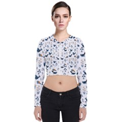 Spring Flowers And Birds Pattern Bomber Jacket