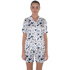 Spring Flowers And Birds Pattern Satin Short Sleeve Pyjamas Set