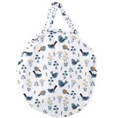 Spring Flowers And Birds Pattern Giant Round Zipper Tote